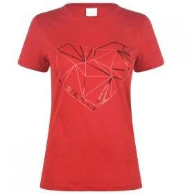 ヒューゴ ボス BOSS レディース Tシャツ トップス Hugo Boss Tearty Heart T Shirt Red