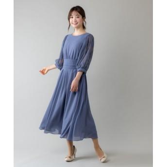 ルゥデ ウエストリボン付ロングドレス(0R04 A2000) レディース ダークブルー M 【Rewde】