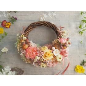 Lune Bonheur <Miel> *ハーフムーンリース*プリザーブドフラワー*リース*お花*ギフト*結婚祝い*記念日*ウェディング