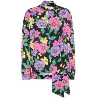バレンシアガ Balenciaga レディース ブラウス・シャツ トップス scarf floral satin blouse Black/Purple