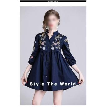 Vネックスリーブヘビーワーク刺繍ルースハイウエストAラインスカートドールスカート (Color : Dark Blue, Size : L)
