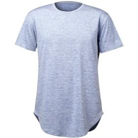 レディース 円弧状の固体ラウンドネック半袖シャツスリムTシャツ ボディコン (Color : Blue, Size : XL)