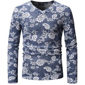 レディース 薄いスリムを印刷VネックTシャツ ボディコン (Color : Blue, Size : 2XL)
