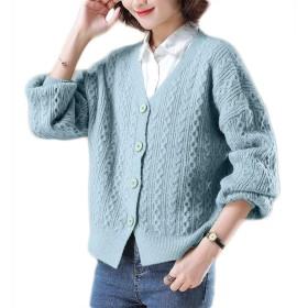野生秋ニットカーディガン、女性の短いソリッドカラーのセーターのコート、Vネックシングルブレストカーディガン (Color : Blue, Size : L)