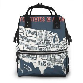 マザーズバッグ リュック 大容量 ポケット付き 多機能 ベビー用品収納 バッグ 通勤 旅行 出産準備 出産祝いなど用 アメリカ合衆国地図30