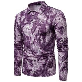 レディース ファッション手紙は長袖シャツの襟を印刷しました ボディコン (Color : Purple, Size : 2XL)