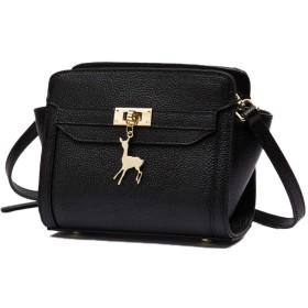 Nunulu 女性の鞄野生の肩のメッセンジャーバッグ鹿のシンプルな翼の性格の小さなバッグの韓国語版 (色 : ブラック)