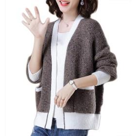 女性の快適なカーディガンセーター、秋のショートニットカーディガン、ルーズカジュアルスレッドニットジャケット (Color : Coffee color, Size : L)