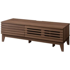 テレビ台 ライン テレビボード 格子 シンプル ローボード 組み立て 組立 AVボード AVラック TVボード 木製 TV台 (ミディアムブラウン, 120)