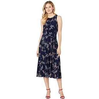 [LAUREN Ralph Lauren(ローレンラルフローレン)] ドレス・ワンピース Floral Fit-and-Flare Jersey Dress Lighthouse Navy/Blue/Multi L [並行輸入品]