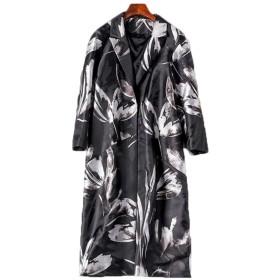長袖ジャケット、ハイエンド、大気中の印刷、長いトレンチコート、秋、新しい婦人服 (Color : Black, Size : L)
