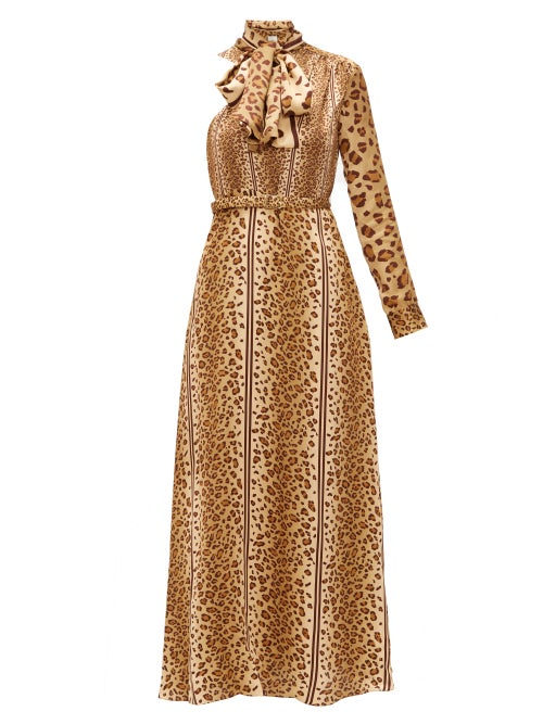 Hillier Bartley - Leopard-print Pussy-bow One-shoulder Satin Dress - Womens - Animal