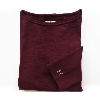 [ハリウッド ランチ マーケット]STフライス ウィメンズ ボートネック七分袖Tシャツ ボルドー XL
