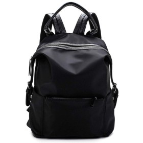 バックパック 防水オックスフォード/PUレザー小さなバックパック財布女性のためのランドセル女の子のためのカジュアルカジュアルバックパック 軽量ファッションバッグ (Color : Black, Size : Free size)