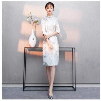 XSHD 新しいチャイナドレス小さな香りのスタイル新しい夏の長袖の少女デイリードレスミッド長さ0の (色 : 緑, サイズ : XXL)