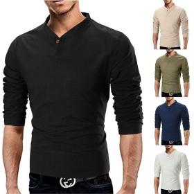 レディース ソリッドカラースタンドカラーリネン長袖Tシャツ ボディコン (Color : Black, Size : M)