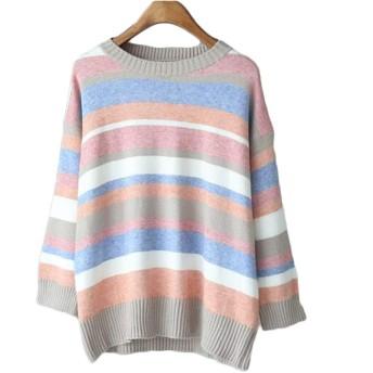 レディース冬のファッションストライプルーズプルオーバーラウンドネック長袖セーター Genry (Color : 02, Size : One size)