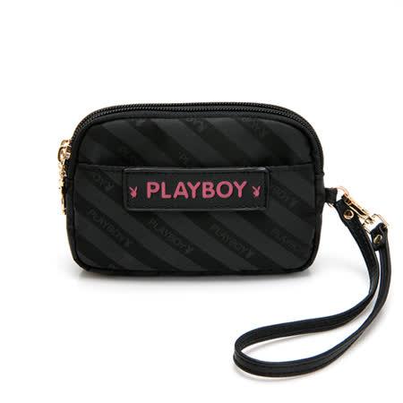 PLAYBOY-  零錢包附手挽帶 時尚黑潮系列 -黑色