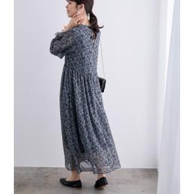 ロペ/フラワープリントドレス/ブルー系/38