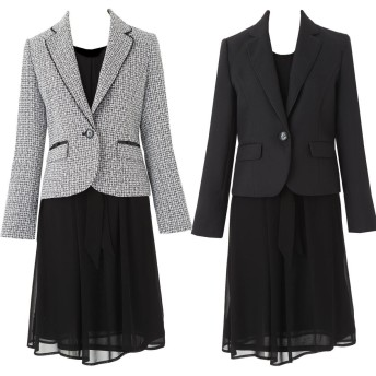 [アンジェリカ] 2枚 ジャケット ワンピース スーツ 卒業式 スーツ 母 ママ 入学式 スーツ 母 ママ A 黒白 15号 [P80192-15]