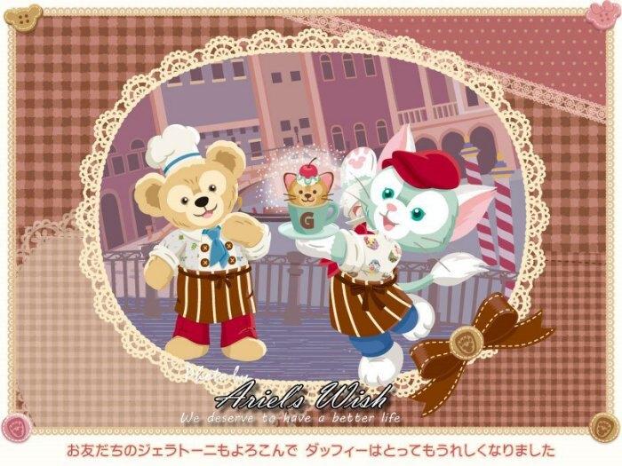 Ariel Wish日本東京迪士尼達菲熊好朋友傑拉東尼Gelatoni畫家貓咪情人節-坐姿珠鍊吊飾包包手機掛飾-絕版品