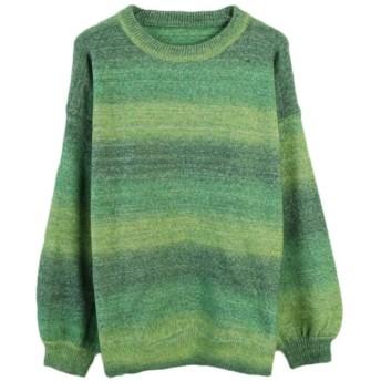 レディース冬ラウンドネックプルオーバーセータールーズグラデーション暖かいセーター Genry (Color : Green, Size : M)