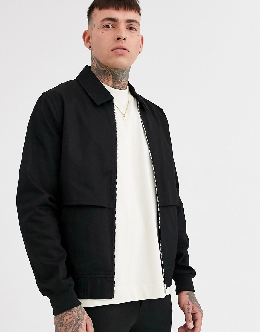 ASOS DESIGN co-ord harrington jacket with storm vent in black
