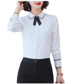 レディースロングスリーブドールカラーシャツ作業着スリム気質シャツ SLhouse (Color : White, Size : XXXXL)