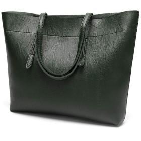 女の人 ヴィトン バッグ レトロなオイルワックスレザーショルダーバッグトートバッグショッピングバッグ大容量 トートバック (Color : Blackish green)
