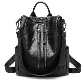 バックパック ラップトップバックパックカメラバックパック女性の新しい野生の多機能ソフトレザーバックパックレジャートラベルバッグ 軽量ファッションバッグ (Color : Black, Design : Double zipper)