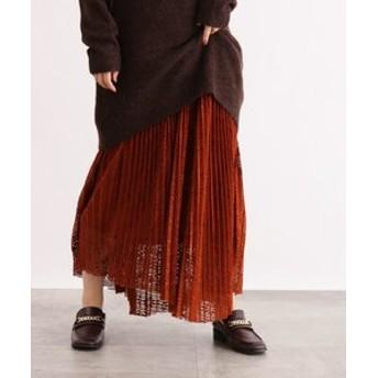 【OZOC:スカート】[洗える]レースプリーツスカート