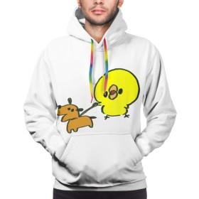 パーカー 長袖シャツ メンズ ポケットある 犬の散歩をする プリント ゆったり スウェット 大きいサイズ プルオーバー 春 秋 冬