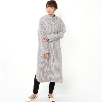 ワイドシルエット長袖刺繍ワンピース[日本製]