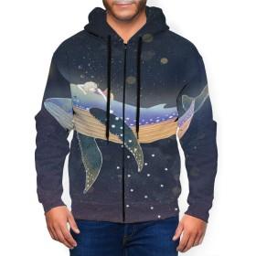 【甘子屋】 クジラ 夢 星 パーカー 長袖 メンズ フード付き カジュアル ポケット秋冬服 運動 日常着