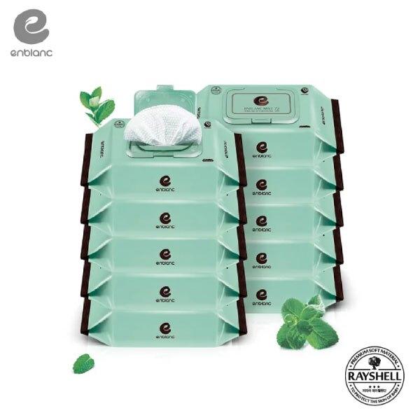 Enblanc   極柔純水有蓋大包濕紙巾-薄荷萃取物   72抽10入