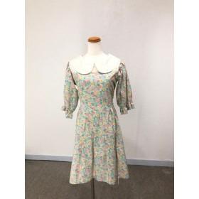 綿レースとグリーン系小花模様の清楚な五分袖バックリボン丸襟ワンピース