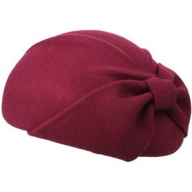 帽子の暖かいウールのフェルトドームのリボンの弓冬のフロッピー帽子の女性のためのベレー帽 ハット (Color : Jujube red)
