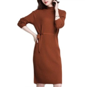 女性のタートルネックのセーター、緩いカジュアルなニットワンピース、ロング厚い冬暖かいセータースカート (Color : Orange, Size : M)