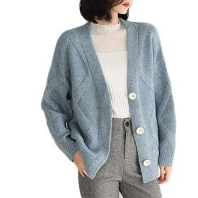 女性のカジュアルな大型サイズのセーターのコート、緩いVネックシングルブレストカーディガンセーター、秋と冬暖かい長袖ニットカーディガン (Color : Blue, Size : L)