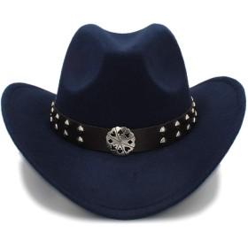 LANSHUN 帽子ヴィンテージ西部カウボーイハット模造ウール素材男性女性バイザー帽子旅行パフォーマンスパンクカウガールキャップ カウボーイハット (Color : Dark Blue, Size : 56-58cm)
