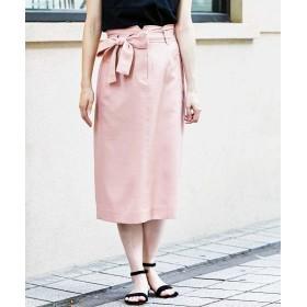 (Perle Peche OUTLET/ペルルペッシュ アウトレット)ウエストリボンAラインスカート/レディース ピンク