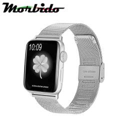 Morbido蒙彼多 Apple Watch 42mm不鏽鋼編織卡扣式錶帶 銀