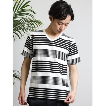 (semanticdesign/セマンティックデザイン)リップルボーダーVネック半袖Tシャツ/メンズ ブラック
