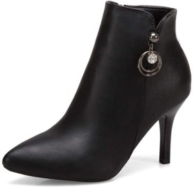 インナージッパー黒の合成皮革先のとがったつま先ビーズリングラインストーンパーソナライズファッション靴でかかとのアンクルブーツ女性ハイヒールスリップ スノー・ブーツ、雪用のブーツ (Color : Black 7cm, Size : 38 EU)