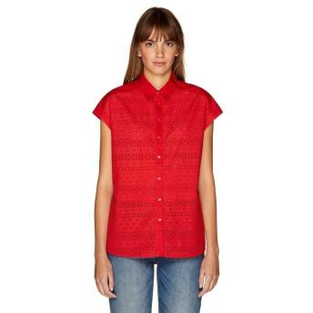 (BENETTON (women)/ベネトン レディース)フレンチスリーブボーラー刺繍ブラウス・シャツ/レディース レッド