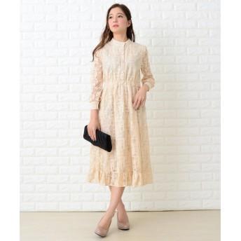 (Lace Ladies/レースレディース)裾フリル総レースブラウス風フレアワンピース・ドレス/レディース ベージュ