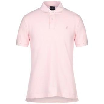 《セール開催中》CONTE OF FLORENCE メンズ ポロシャツ ライトピンク M コットン 100%