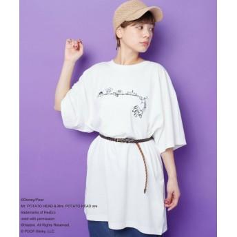 (DOUBLE NAME/ダブルネーム) BACKロゴTシャツ/レディース オフ白