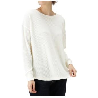 (MAC HOUSE(women)/マックハウス レディース)Navy ネイビー ワッフル長袖Tシャツ NVCW9101/レディース ホワイト