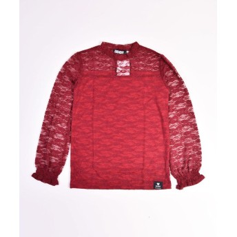 (ZIDDY/ジディー)【ニコプチ掲載】ストレッチレースショートネックTシャツ/ レッド